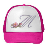Pink Roses Monogram M Trucker Hats