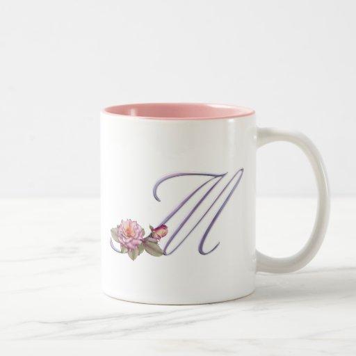 Pink Roses Monogram M Two-Tone Coffee Mug