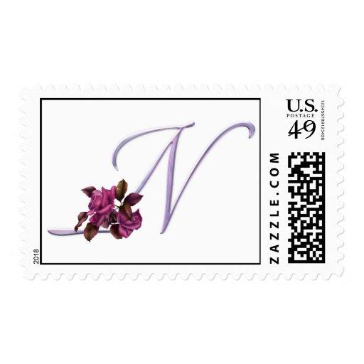 Pink Roses Monogram N Postage Stamp
