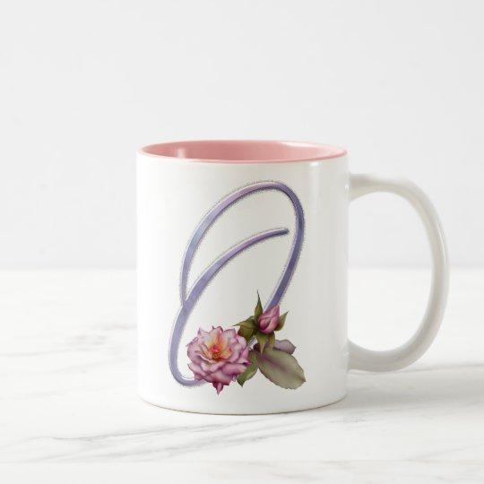 Pink Roses Monogram O Two-Tone Coffee Mug