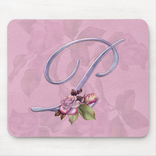 Pink Roses Monogram P Mouse Pad