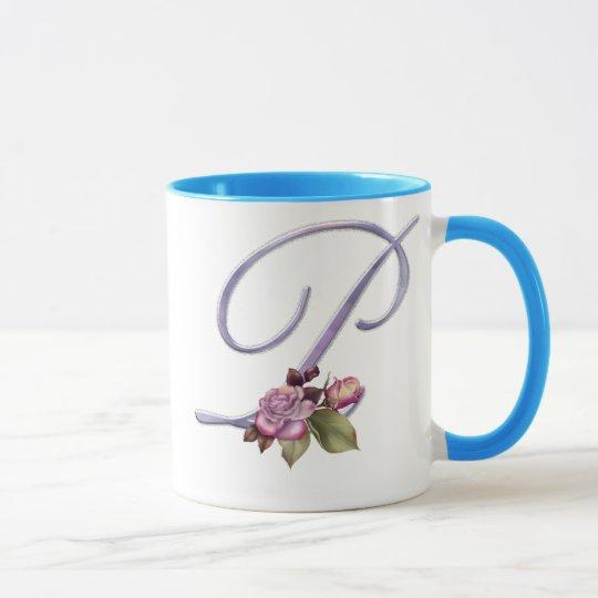 Pink Roses Monogram P Mug