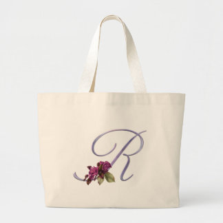 Pink Roses Monogram R Canvas Bags
