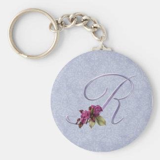 Pink Roses Monogram R Basic Round Button Keychain