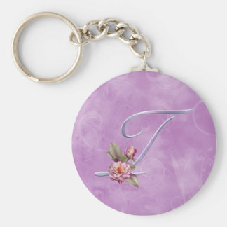 Pink Roses Monogram T Keychain