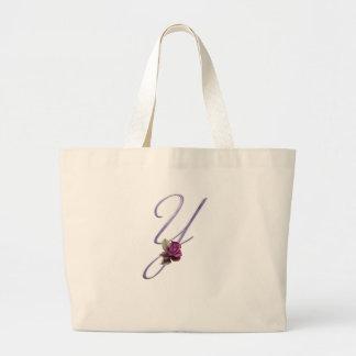 Pink Roses Monogram Y Tote Bag