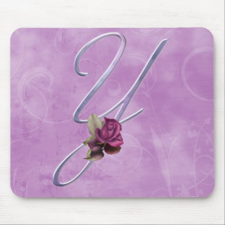 Pink Roses Monogram Y Mouse Mats
