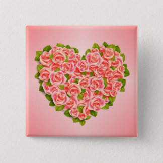 Pink Roses, Mother Birthday, Button