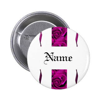 Pink roses name tags - customizable 2 inch round button