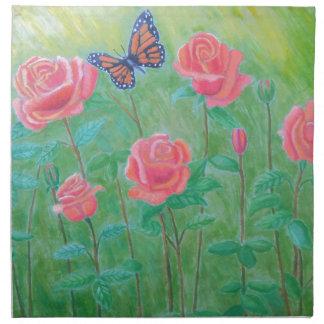 pink roses napkin