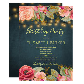 Pink roses navy gold lights birthday party card