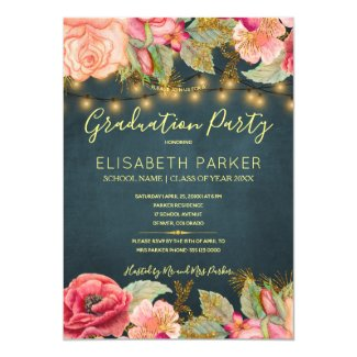 Pink roses navy gold lights graduation party card
