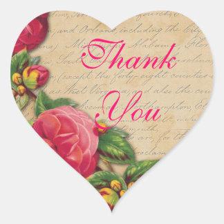 Pink Roses on a Heart Thank You Seal Ephemera