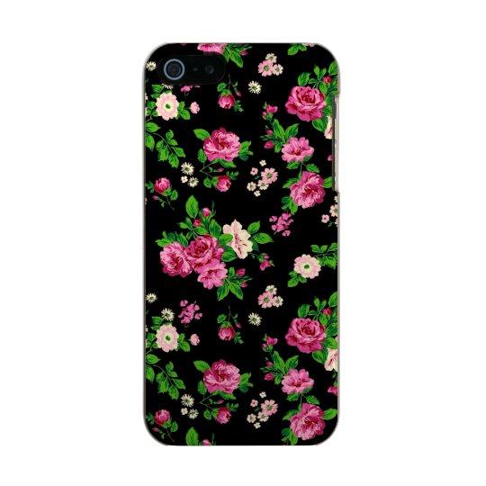 pink roses on black background metallic phone case for iphone se 5 5s. Black Bedroom Furniture Sets. Home Design Ideas