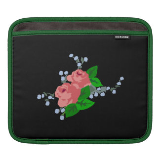Pink Roses on Black Background Sleeve For iPads