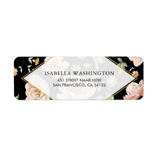 Pink Roses on Black | Elegant Gold Floral Wedding Label