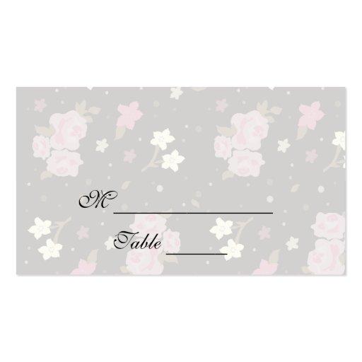 Pink Roses on Black Floral design Placecards Business Card