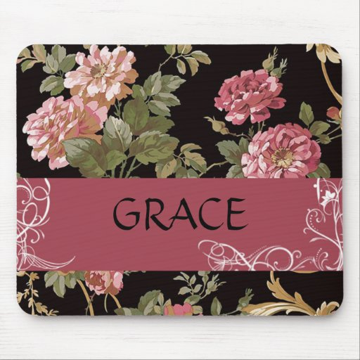 Pink Roses on Black Floral Personal Mouse Pad