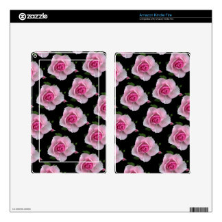 pink roses on black kindle fire decals