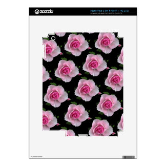 pink roses on black skin for iPad 3