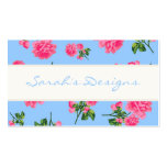 Pink Roses on blue Floral Business Cards