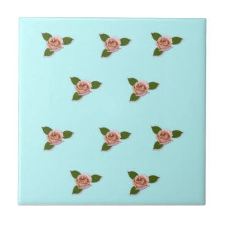 Pink Roses On Blue Small Square Tile