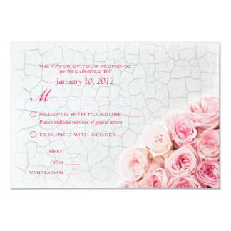 Pink Roses on Crackle Paint RSVP with Meal Options Card