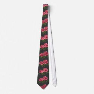 Pink Roses on Dark Background: Original Art Tie