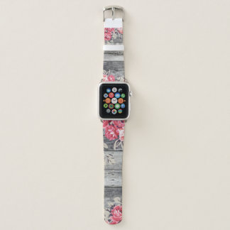 Pink Roses on Distrssed Wood Apple Watchband Apple Watch Band