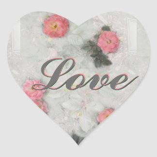 Pink Roses on Gray Heart Sticker