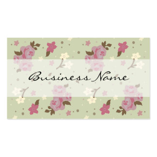 Pink Roses on Green Floral Business Cards