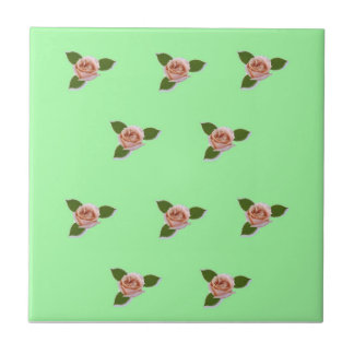 Pink Roses On Green Small Square Tile