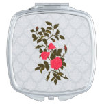 Pink Roses on Lacy Background Makeup Mirror