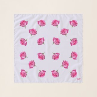 Pink Roses on Lavender Square Chiffon Scarf