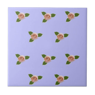 Pink Roses On Purple Small Square Tile