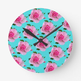 pink roses on teal round clock