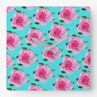 pink roses on teal square wall clock
