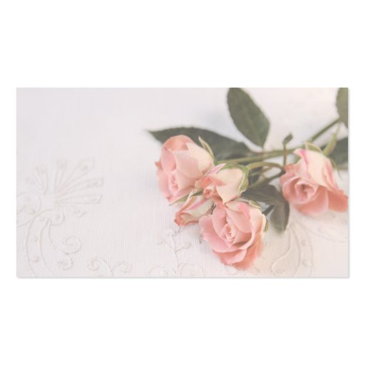 pink roses on textured fabric business card