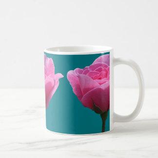 Pink Roses on Torquoise Coffee Mug