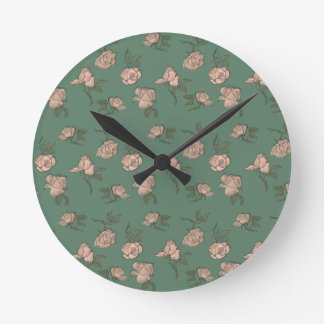 Pink Roses on Turquoise Round Clock