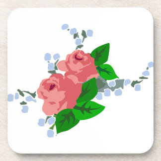 Pink Roses on White Coasters
