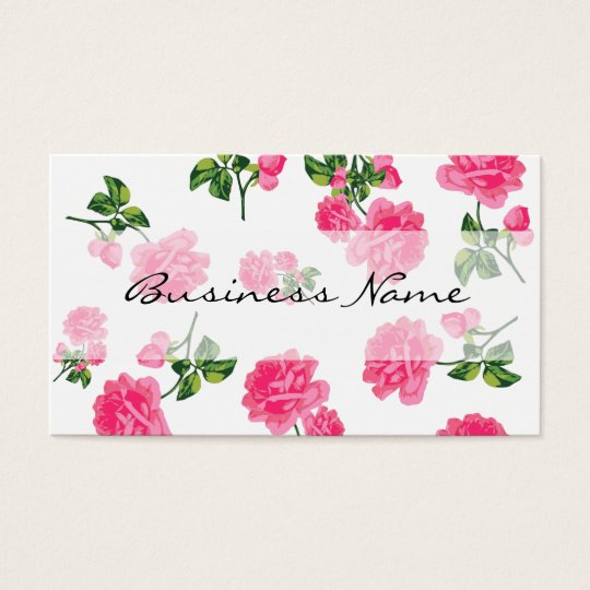 Pink Roses on white Floral Business Cards