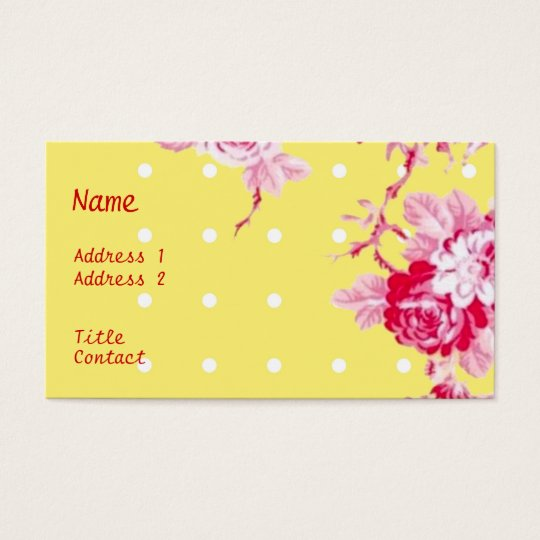 Pink Roses On Yellow Business Card