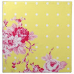 Pink Roses On Yellow Napkin