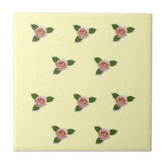 Pink Roses On Yellow Small Square Tile