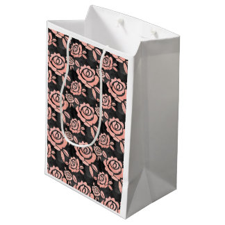 Pink Roses ona a Black Backround Medium Gift Bag