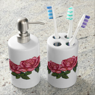 Pink Roses: Original Oil Pastel Art Bath Set
