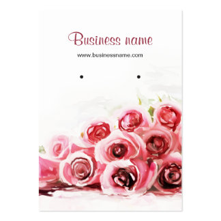 Pink Roses Painting Background Earring Cards