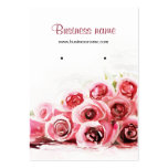 Pink Roses Painting Background Earring Cards Business Card