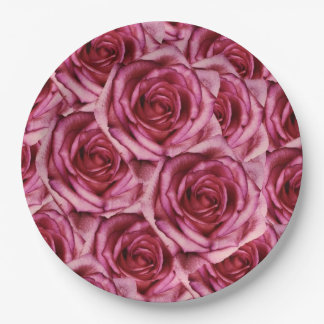 Pink Roses Paper Plate